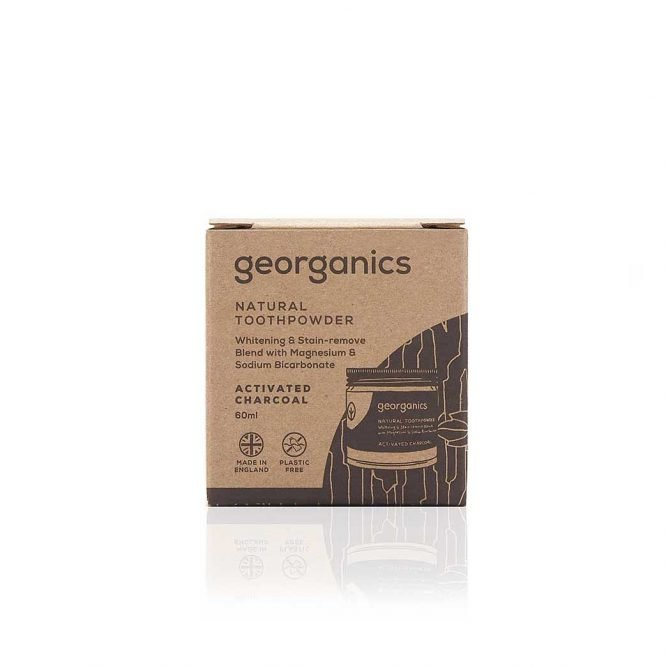 georganics natural charcoal activated toothpowder 60ml packaging