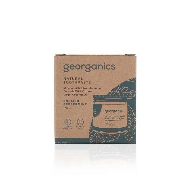 georganics natural toothpaste english peppermint packaging