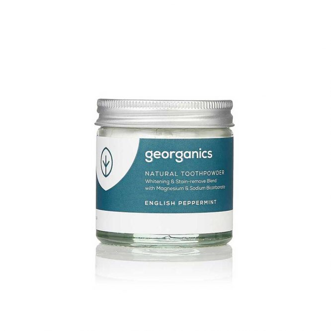 georganics natural peppermint toothpowder 60ml