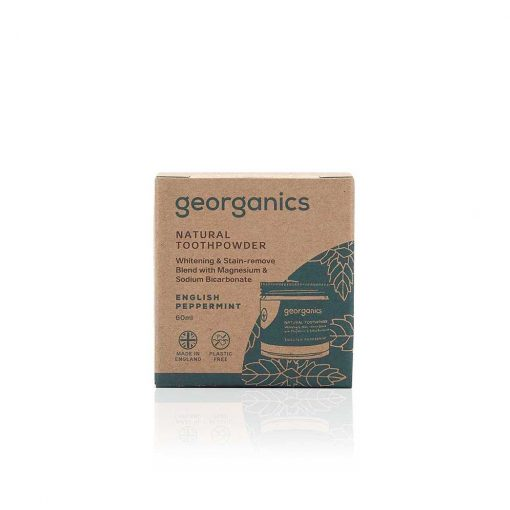 georganics natural peppermint toothpowder 60ml packaging