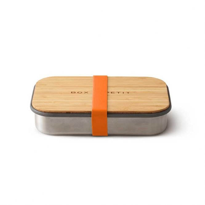 sustainable reusable salad sandwich box with bamboo lid orange