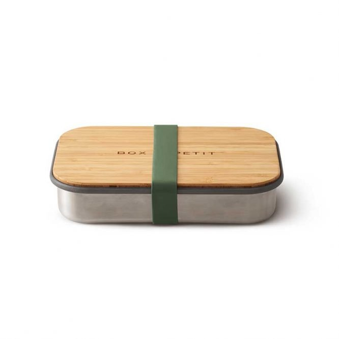 sustainable reusable salad sandwich box with bamboo lid olive