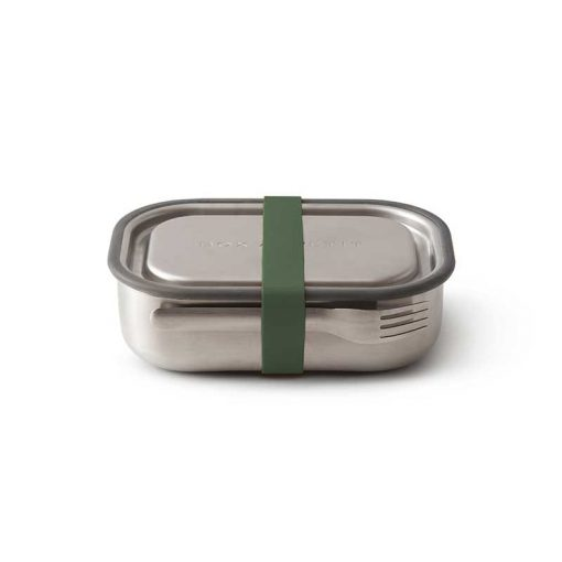 sealed, 2 compartment leakproof stainless steel lunch box with fork in olive colour