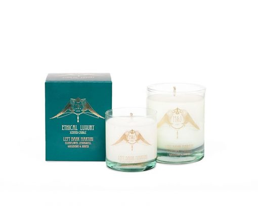 m&j london luxury soya candle left bank martini with packaging