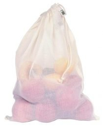 large cotton reusable produce bag with drawstring zero waste
