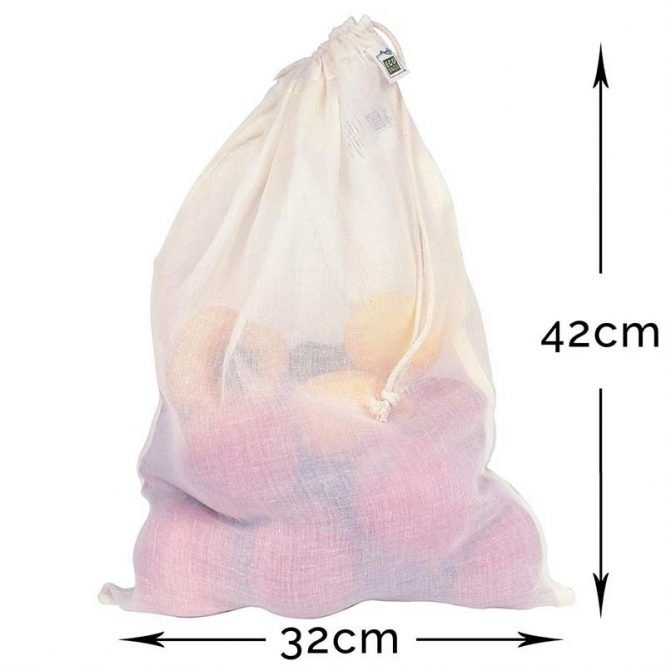 large reusable produce bag with dimensions