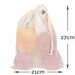 cotton drawstring reusable produce bag medium size with dimensions