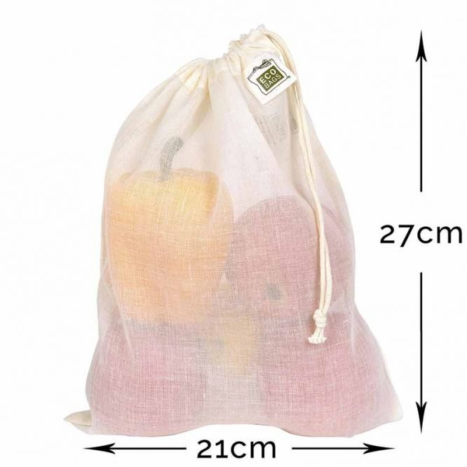 cotton drawstring reusable produce bag medium size with dimensions
