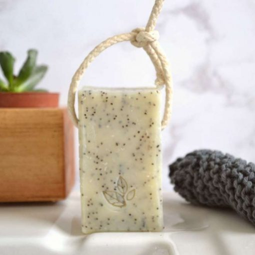 plastic free soap on a rope 100% natural and vegan