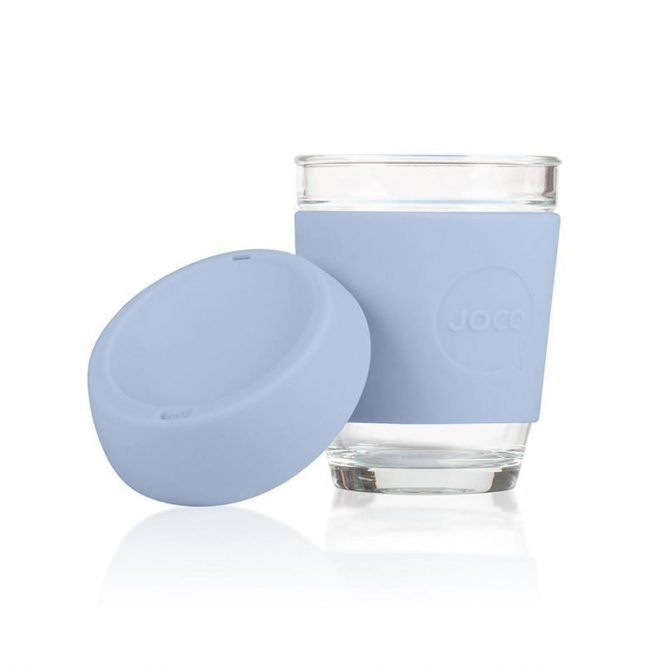 plastic free reusable coffee cup in vintage blue lid off