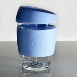 plastic free reusable coffee cup in vintage blue lifestyle shot