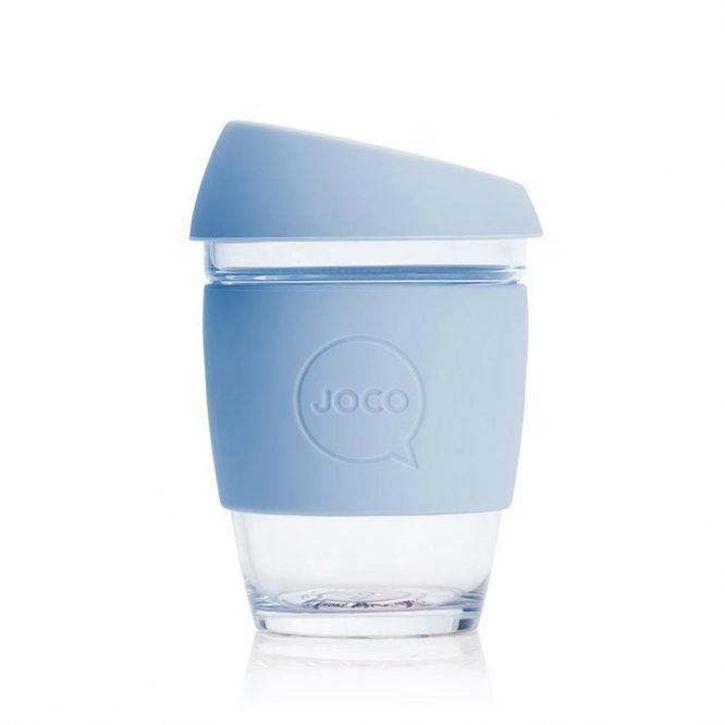 plastic free reusable coffee cup in vintage blue single shot