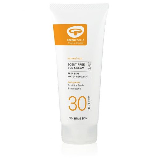 organic sun cream spf30 in plant based packaging
