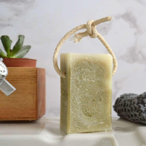 natural antibacterial and vegan soap on a rope for the shower