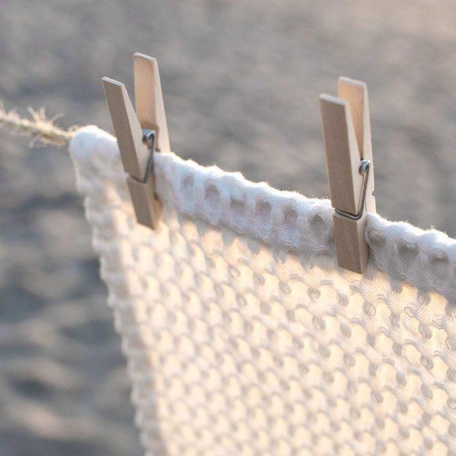 organic wash cloth on washing line