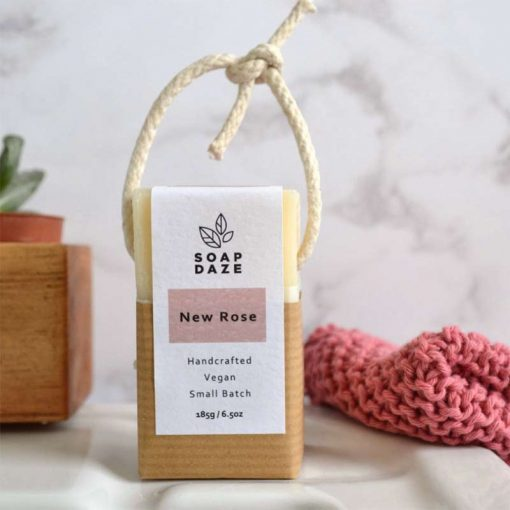 new rose extra large vegan soap on a rope