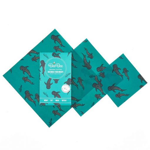 mixed pack beeswax wraps in blue whale pod design