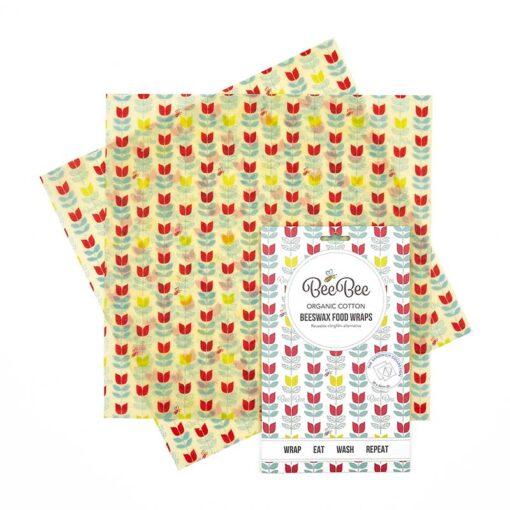 tulip print beebee wraps sandwich pack 2 pack