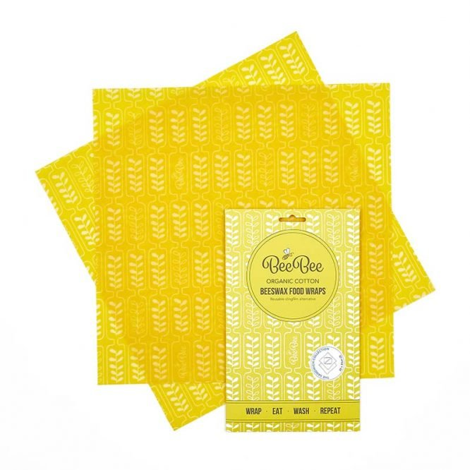 beebee wraps sandwich pack in yellow wheat print