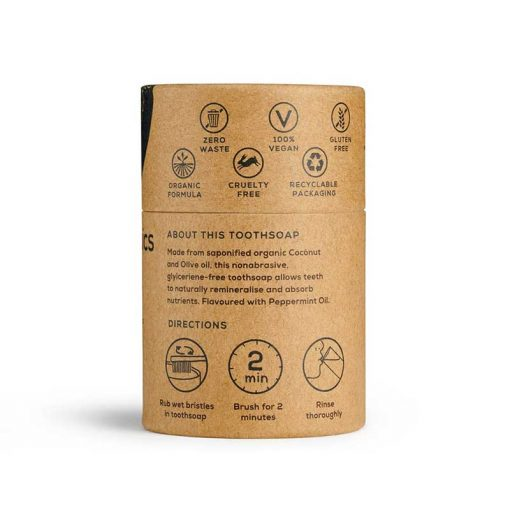 rear of toothsoap in cardboard tube