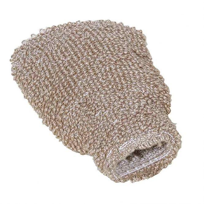 bath and shower flax massage glove