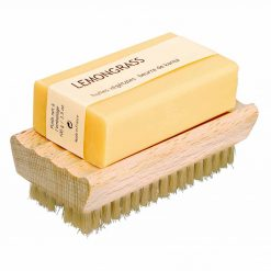 wooden nail brush with soap dish