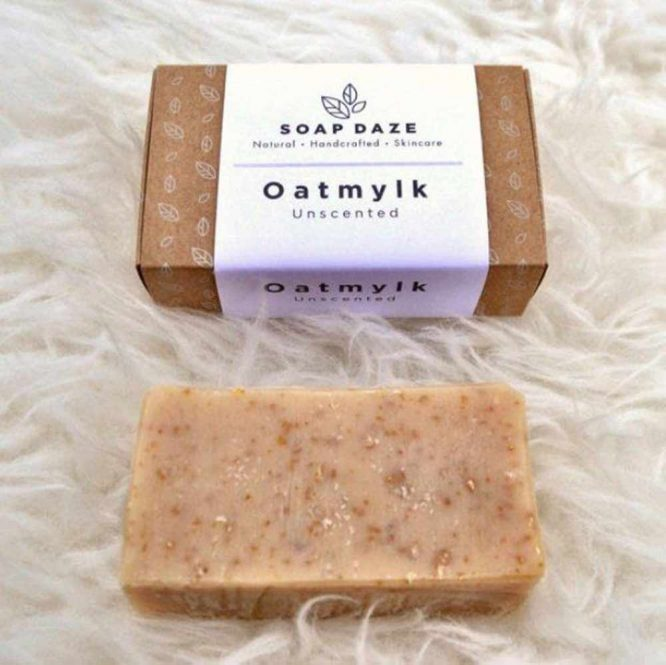 sustainable soap bar next to cardboard box