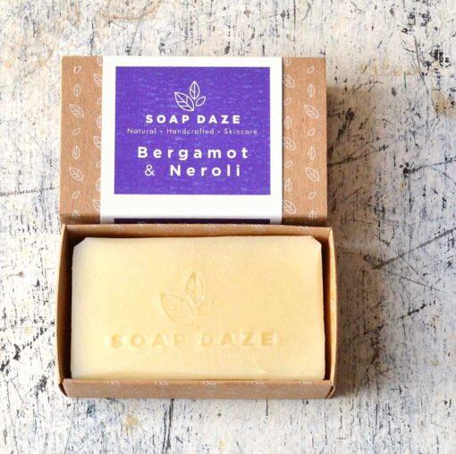 plastic free soap bar in cardboard packaging