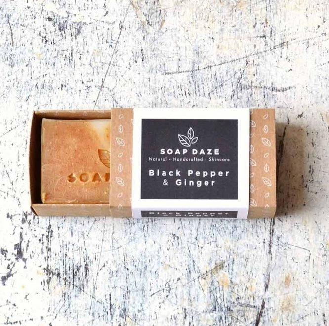 natural handmade soap in plastic free packaging