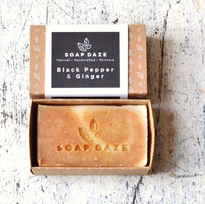 handmade soap bar in cardboard box