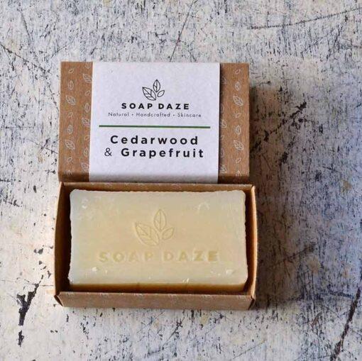 all natural soap bar in cardboard packaging
