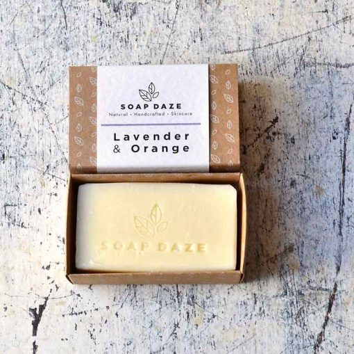 natural soap bar made with lavender and orange