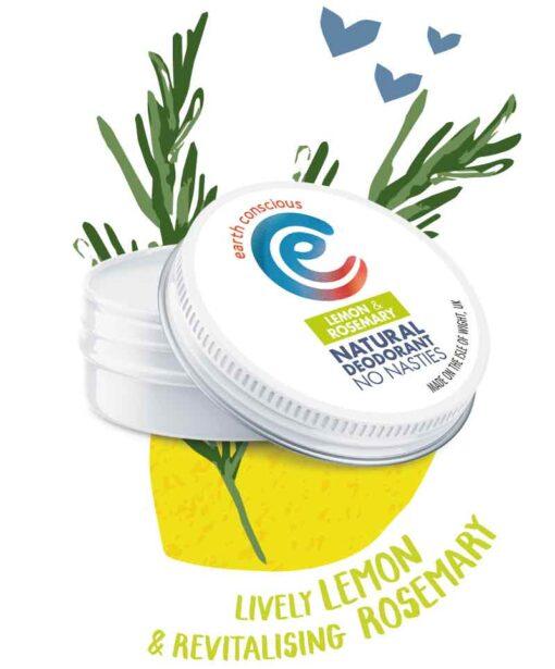 natural deodorant tin in lemon and rosemary