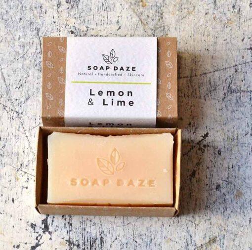 handmade bar of soap in cardboard packaging