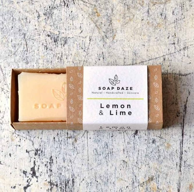 handmade bar of soap in sliding packaging