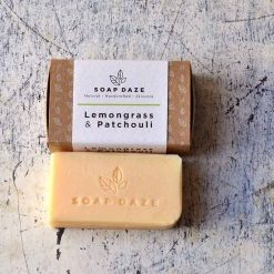 vegan soap bar next to packaging