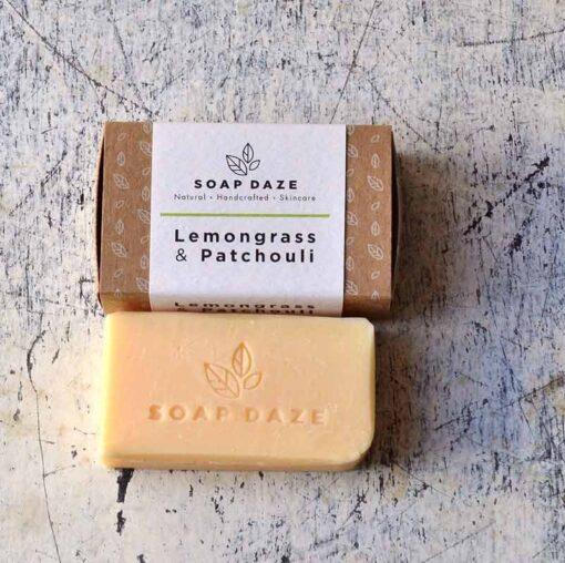 vegan soap bar next to packaging