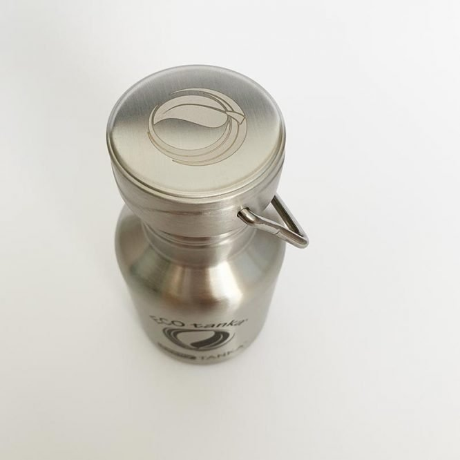 small stainless steel bottle from above