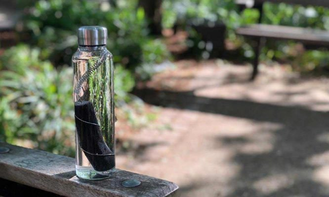 charcoal water filter in reusable bottle