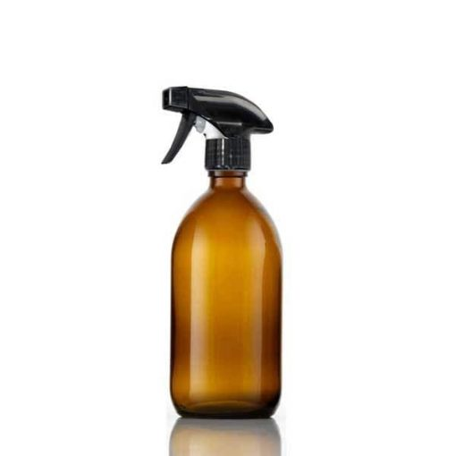 amber glass spray bottle with trigger spray