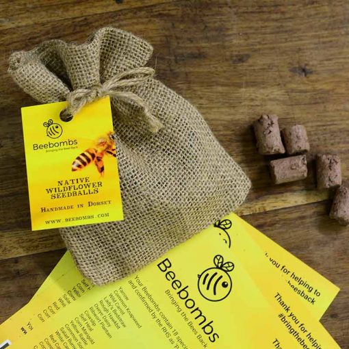 wild flowers for bees bee bomb in gift pouch
