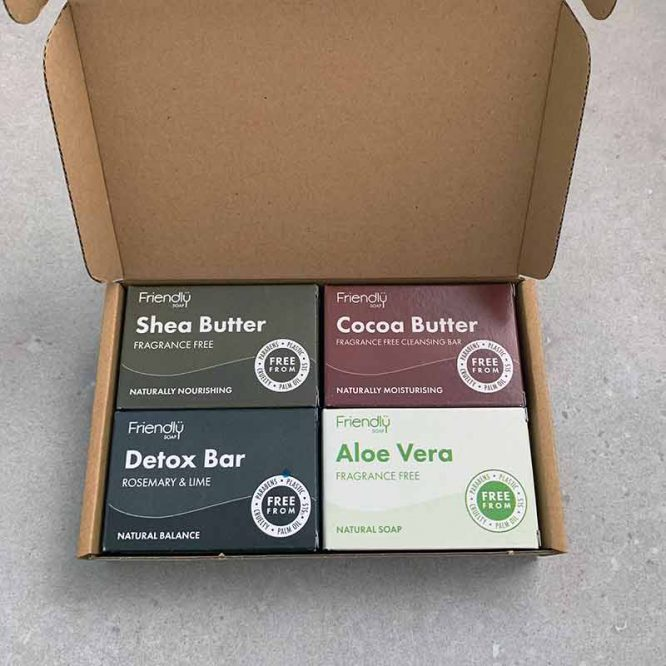facial gift set selection in cardboard box
