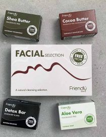 facial gift set selection laid on stone