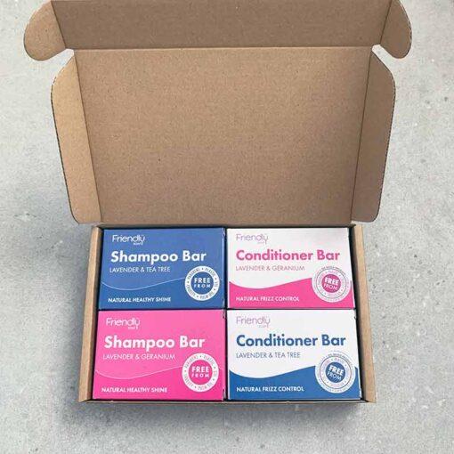 plastic free hair care gift set in cardboard packaging