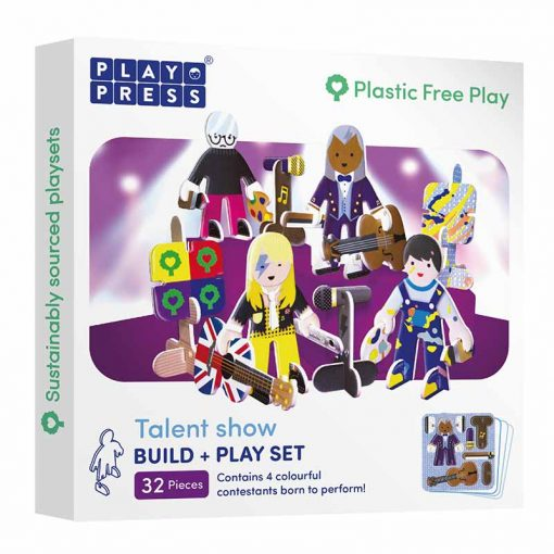 sustainable toy set build and play talent show character set in box