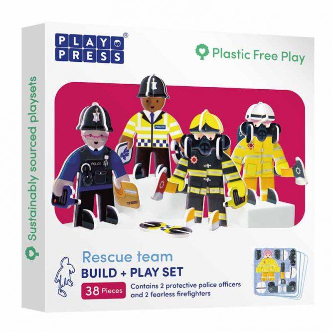 plastic free toy set rescue team in box