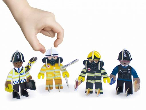 plastic free toy set rescue team pack of 4 figures