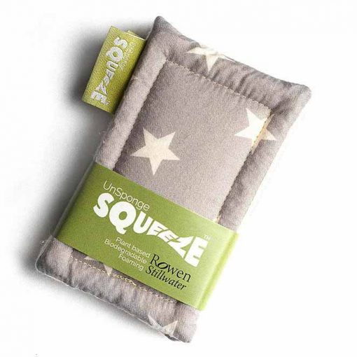 plastic free sponge twin pack in grey star print