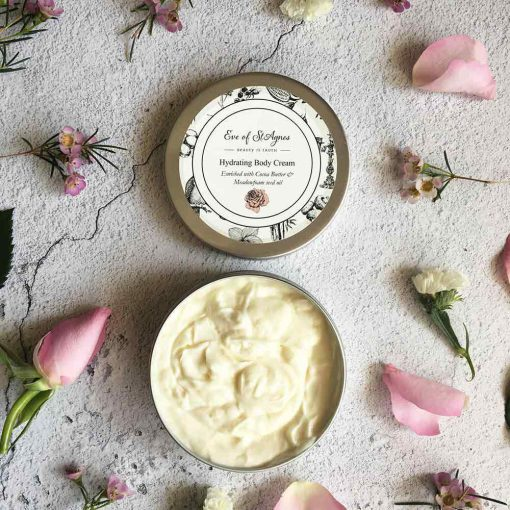 plastic free body cream with lid off and cream showing