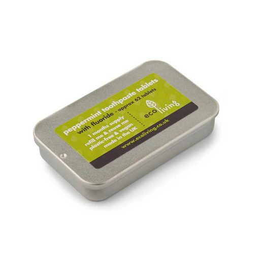 ecoliving toothpaste tablets in a tin